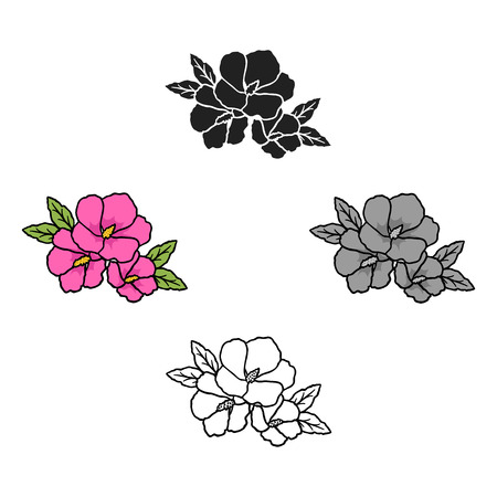 Rose of sharon icon in cartoon,black style isolated on white background. South Korea symbol stock vector illustration.