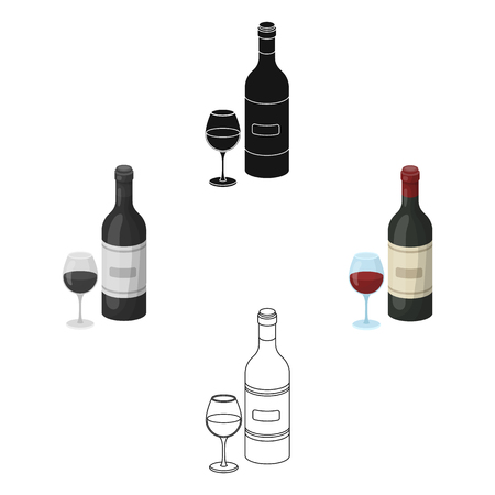 Spanish wine bottle with glass icon in cartoon,black style isolated on white background. Spain country symbol stock vector illustration.