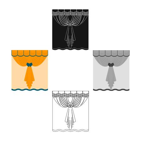 Curtains, single icon in cartoon,black style.Curtains, vector symbol stock illustration web. Ilustração