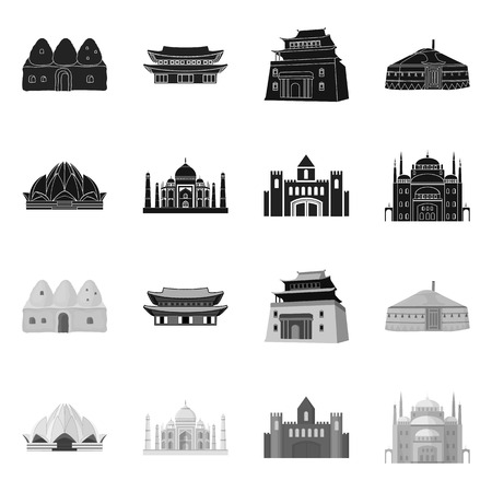Vector illustration of town  and chinatown icon. Set of town  and asian  vector icon for stock.  イラスト・ベクター素材