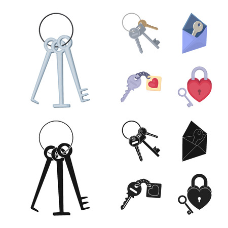 Isolated object of key  and protection logo. Set of key  and security stock symbol for web.