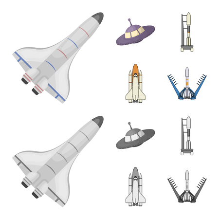 Isolated object of spaceship and ship logo. Collection of spaceship and station stock vector illustration.