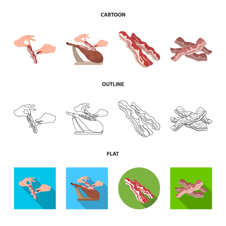 Isolated object of  and  bacon icon. Set of  and calorie stock symbol for web. Ilustracja