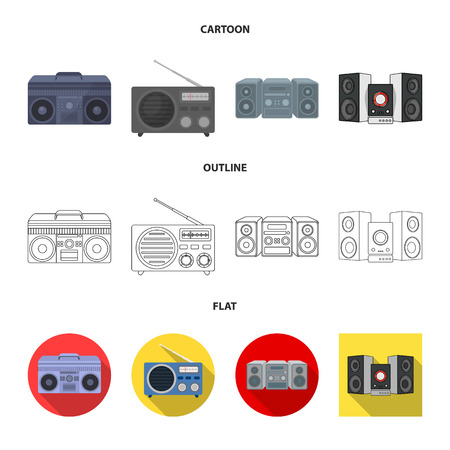 Isolated object of boombox and recorder sign. Collection of boombox and retro stock symbol for web. Vectores
