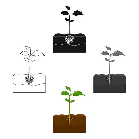 Plants single icon in cartoon,black style.Plants, vector symbol stock illustration web. Stock Illustratie