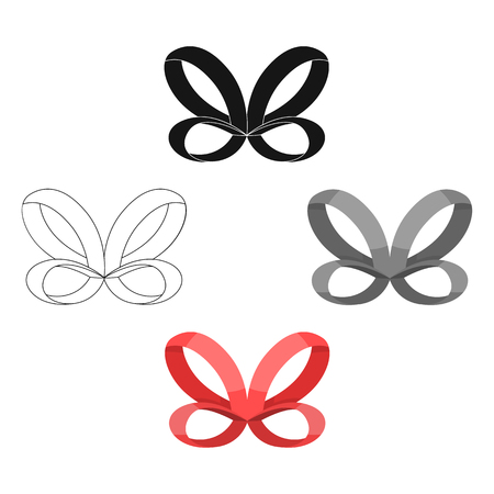Bow, ribbon, decoration, and other web icon in cartoon,black style. Textile, decor, gift, icons in set collection. Vettoriali