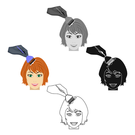 Staining of female hair in a hairdresser. Hair dyeing single icon in cartoon,black style vector symbol stock illustration web.