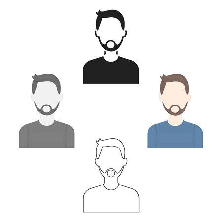 Man with beard icon cartoon,black. Single avatar,peaople icon from the big avatar cartoon,black.