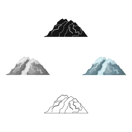 Ice mountain all the cracks.The mountain from which icebergs. Different mountains single icon in cartoon,black style vector symbol stock illustration. Vectores
