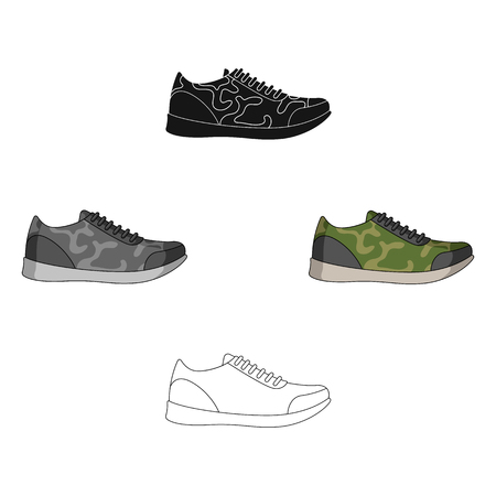 Rag camouflage sneakers for everyday wear.Different shoes single icon in cartoon,black style vector symbol stock illustration.