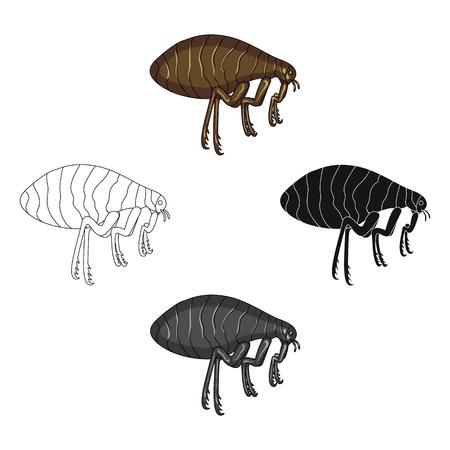 Parasitizing pulga único icono en dibujos animados, negro, negro, contorno, estilo monocromo para el diseño.Web de ilustración de stock de símbolo de vector de servicio de control de plagas.