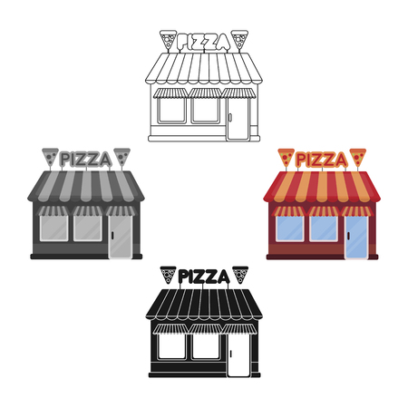 Pizzeria icon in cartoon,black style isolated on white background. Pizza and pizzeria symbol stock vector illustration. 向量圖像