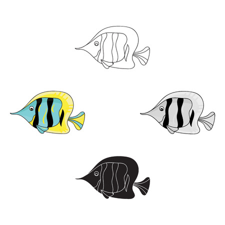 Angel fish icon in cartoon,black style isolated on white background. Sea animals symbol stock vector illustration.