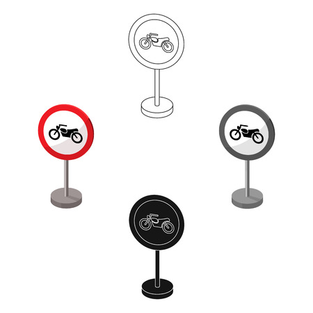 Prohibitory road sign icon in cartoon,black style isolated on white background. Road signs symbol stock vector illustration.