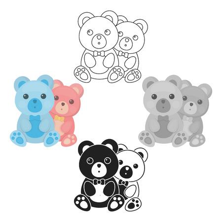 Teddy bears icon in cartoon,black style isolated on white background. Romantic symbol stock vector illustration. Stock Illustratie