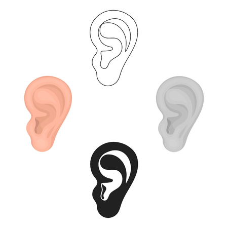 Ear icon in cartoon,black style isolated on white background. Part of body symbol stock vector illustration. Illustration