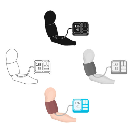 Measurement of blood pressure with a tonometer. Medicine single icon in cartoon,black style vector symbol stock illustration web.