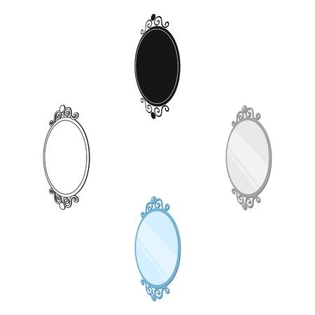 An elegant, oval-shaped mirror. Interior single icon in cartoon,black style Isometric vector symbol stock illustration web.