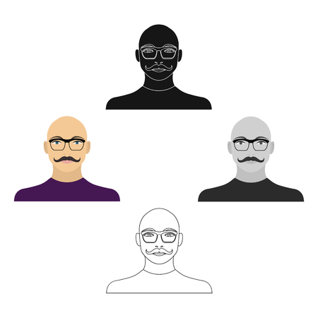 The face of a bald man with a mustache in glasses. Face and appearance single icon in cartoon,black style vector symbol stock illustration web.