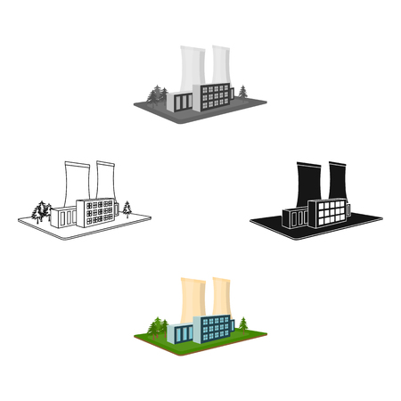 Metallurgical plant. Factory and industry single icon in cartoon,black style isometric vector symbol stock illustration web.
