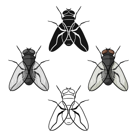 Fly icon in cartoon,black style isolated on white background. Insects symbol stock vector illustration. Illustration