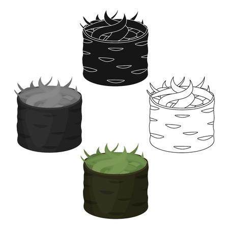 Gunkan maki icon in cartoon,black style isolated on white background. Sushi symbol stock vector illustration.