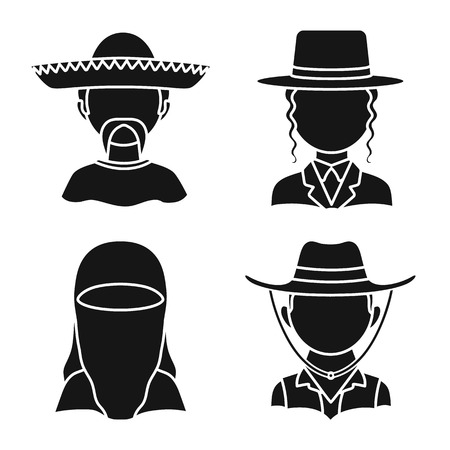 Isolated object of person and culture symbol. Collection of person and race stock symbol for web.