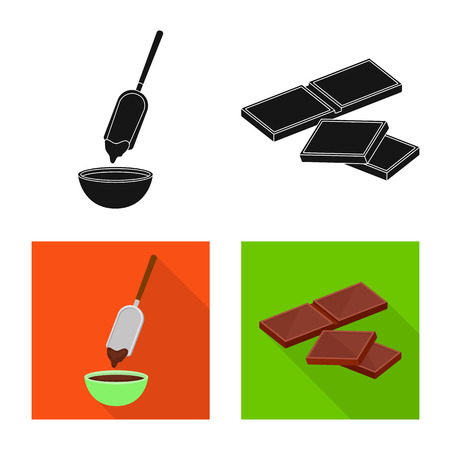 Vector design of food and yummy. Collection of food and brown   stock symbol for web.