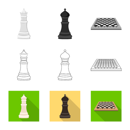 Isolated object of checkmate and thin symbol. Collection of checkmate and target stock vector illustration.