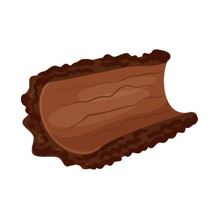 Vector design of bark and piece sign. Collection of bark and lumber stock symbol for web.
