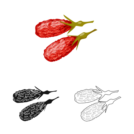 Vector design of goji  and china. Set of goji  and herbal  vector icon for stock.