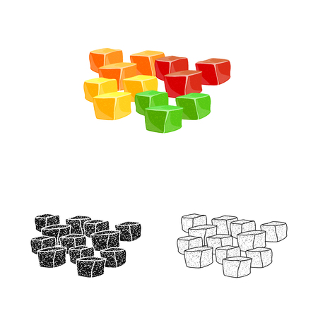 Vector illustration of candied  and jelly  symbol. Collection of candied  and bright  stock symbol for web. 向量圖像