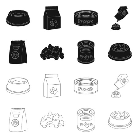 Vector illustration of food  and tin. Set of food  and bottle vector icon for stock. Stock Illustratie