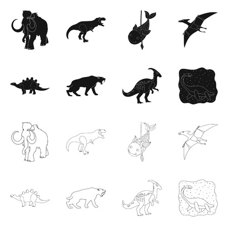 Vector design of animal and character icon. Set of animal and ancient  vector icon for stock. Ilustração