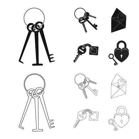 Vector illustration of key  and protection icon. Collection of key  and security stock vector illustration.