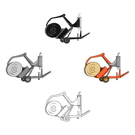 Modern agricultural machinery for  of hay and rolling circles.Agricultural Machinery single icon in cartoon,black style vector symbol stock illustration. 向量圖像