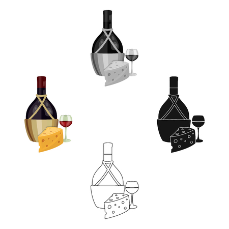 A bottle of alcohol, wine in a glass and cheese. Alcohol single icon in cartoon,black style vector symbol stock illustration web.