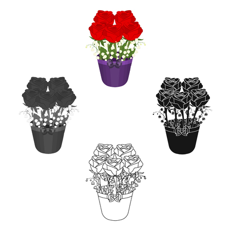 A bouquet of fresh flowers single icon in cartoon,black,black,monochrome,outline style for design. Bouquet vector symbol stock illustration web. 矢量图像
