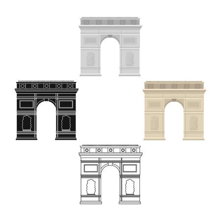 Icône de l'arc de triomphe en dessin animé, style noir isolé sur fond blanc. France pays symbole stock illustration vectorielle.