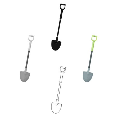 A metal shovel with a plastic handle for working in the garden with the ground.Farm and gardening single icon in cartoon,black style vector symbol stock illustration.