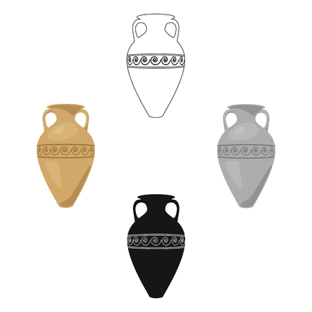 Greece amphora icon in cartoon,black style isolated on white background. Greece symbol stock vector illustration. Vecteurs