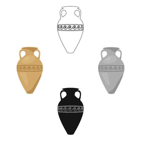 Icône d'amphore de Grèce en dessin animé, style noir isolé sur fond blanc. Grèce symbole illustration vectorielle stock. Vecteurs