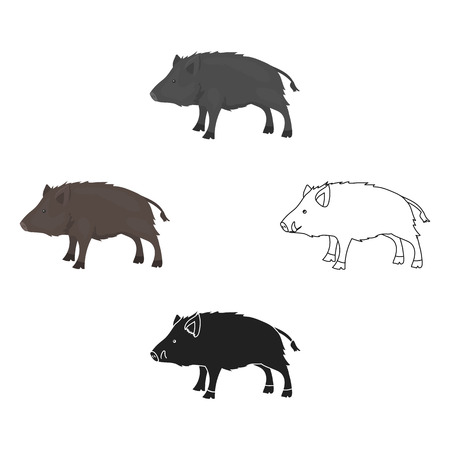 Boar icon in cartoon,black style isolated on white background. Hunting symbol stock vector illustration.