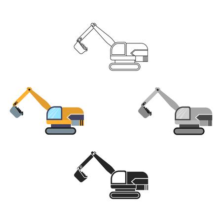 Excavator icon in cartoon,black style isolated on white background. Mine symbol stock vector illustration.