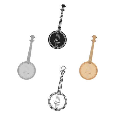 Banjo icon in cartoon,black style isolated on white background. Musical instruments symbol stock vector illustration