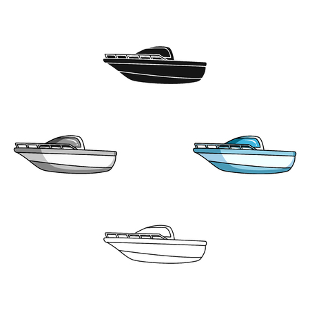 Blue metal boat.Police boat.A means of transportation on water.Ship and water transport single icon in cartoon,black style vector symbol stock illustration. Illustration