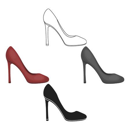 Icono de estilete en estilo de dibujos animados, negro aislado sobre fondo blanco. Ilustración de vector de valores de símbolo de zapatos. Ilustración de vector
