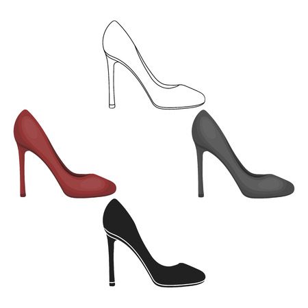 Stiletto icon in cartoon,black style isolated on white background. Shoes symbol stock vector illustration.
