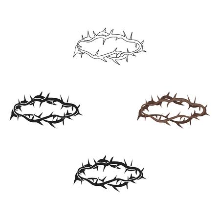 Icona della corona di spine in stile cartoon,nero isolato su priorità bassa bianca. Illustrazione di stock di simbolo di religione. Vettoriali