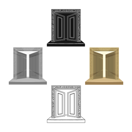 Gates to Valhalla icon in cartoon,black style isolated on white background. Vikings symbol stock vector illustration.